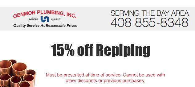 Genmor Plumbing & Repair Service: Coupons San Jose, CA